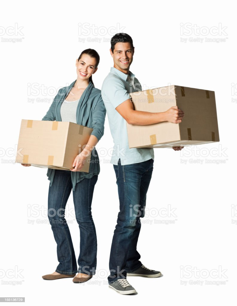 Young Couple With Moving Boxes - Isolated stock photo