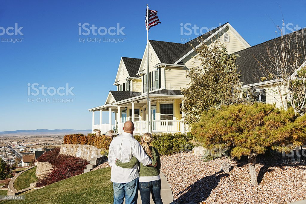 Young Couple with New Home stock photo