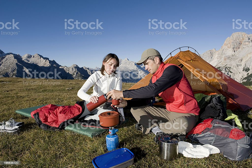 Young Couple with Tent stock photo