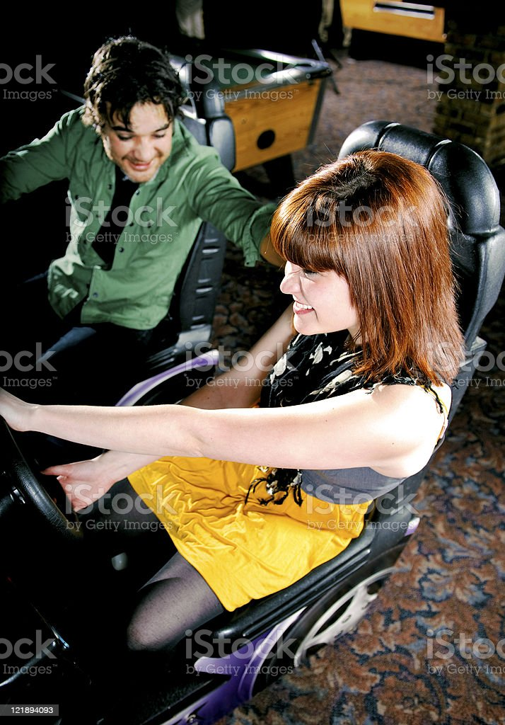 Young Couples are enjoying at an Arcade royalty-free stock photo