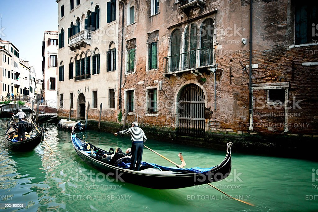 Young couples in a gondolas stock photo