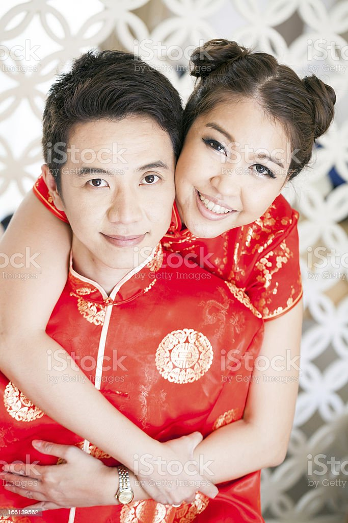 Young Couples with chinese dress royalty-free stock photo