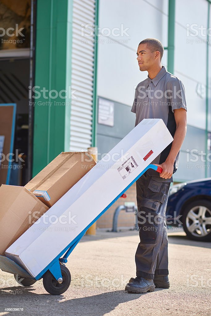 young courier stock photo
