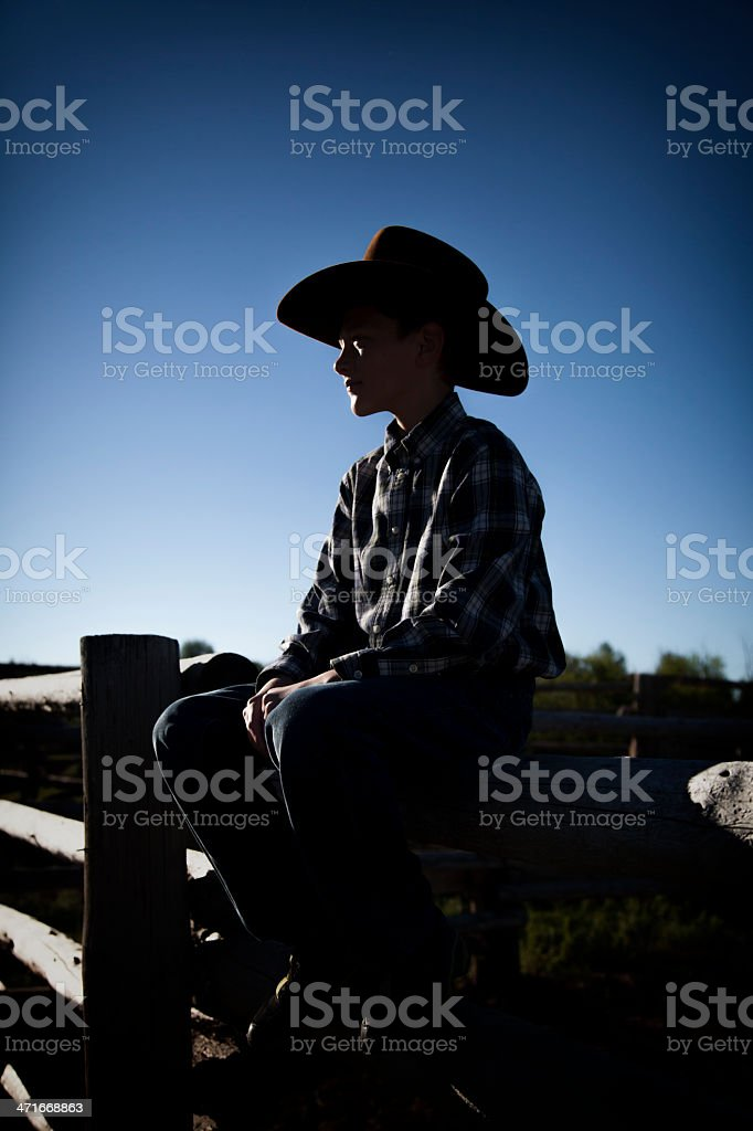 Young Cowboy Silhouette stock photo