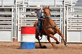 Young Cowgirl Barrel Racing