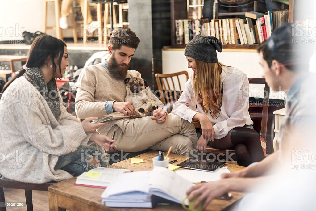 Young creative people enjoying with a dog during break. stock photo