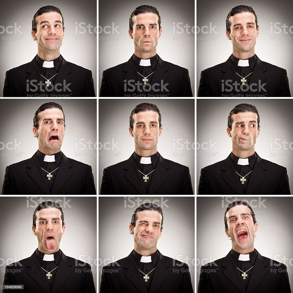 young cristian catholic priest with crucifix expression collecti stock photo
