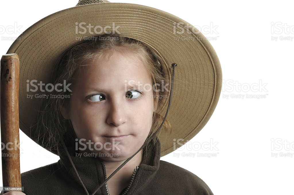 Young cross-eyed hiker royalty-free stock photo