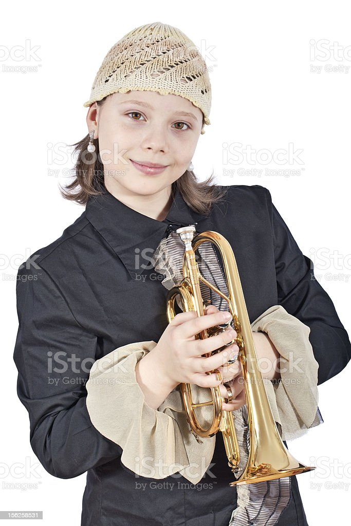 Young cute girl with trumpet stock photo