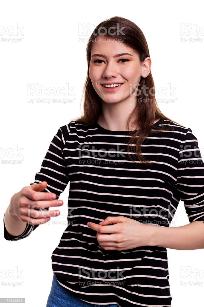 Young Cute Woman and Talking to Audience - Stock Image stock photo