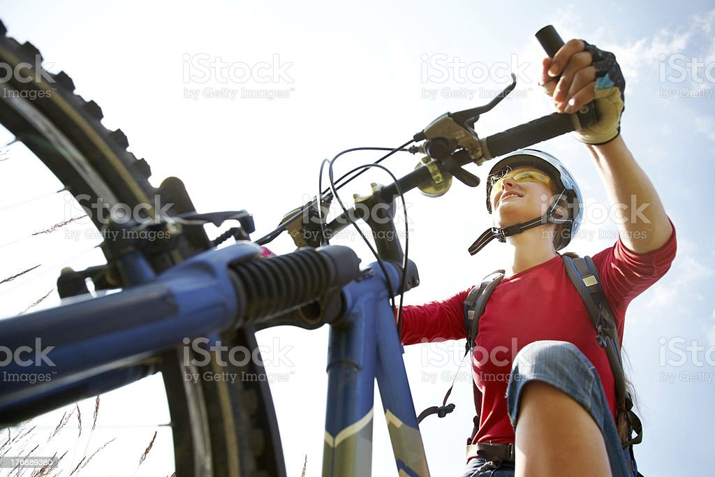 young cyclist in the park royalty-free stock photo