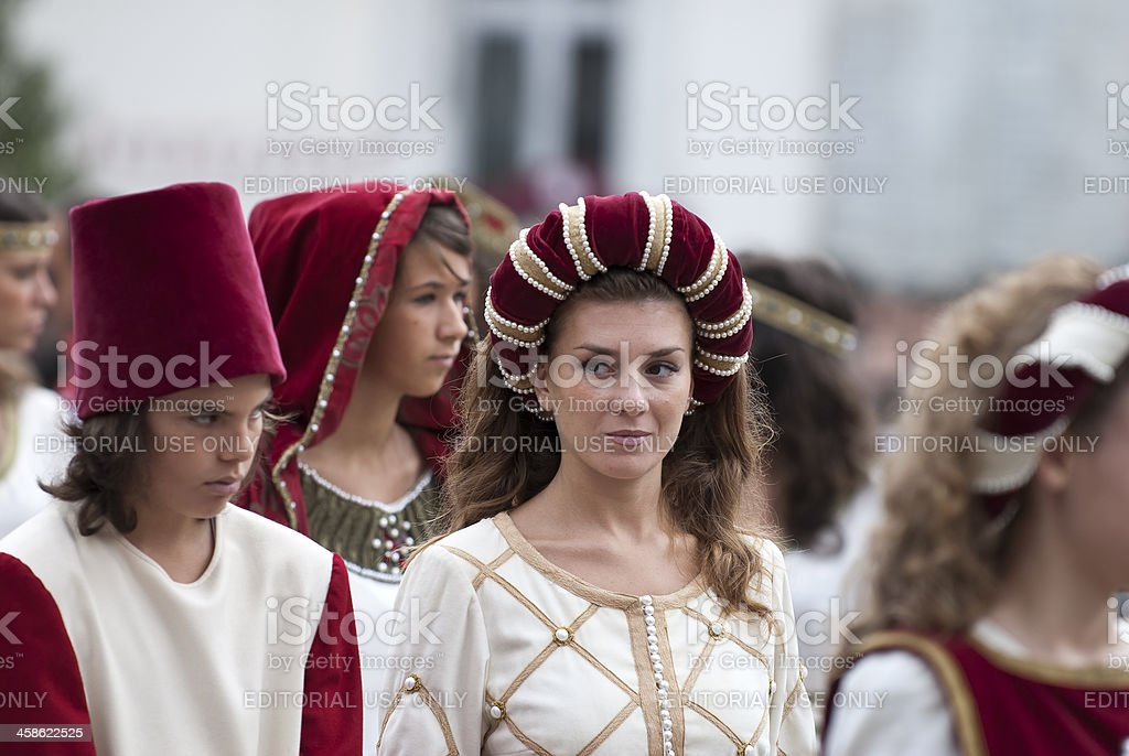 Young damadel Middle Ages  at the Palio di Asti i stock photo