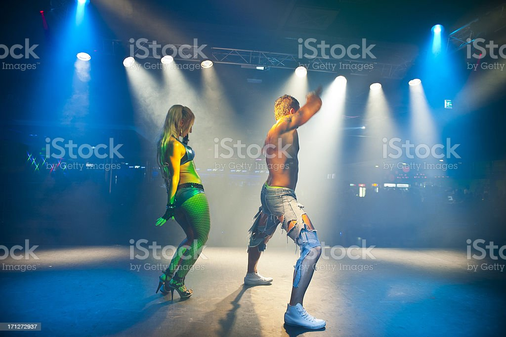 Young dance performers on stage royalty-free stock photo