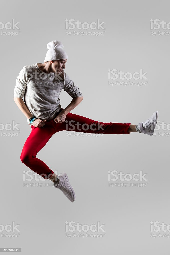 Young dancer jumping stock photo