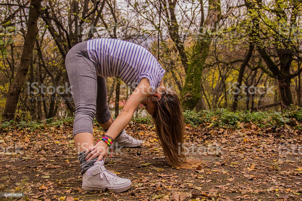 Young dancer warming up royalty-free stock photo