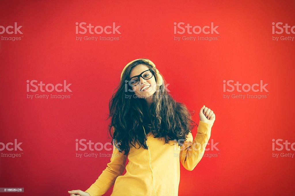 Young dancing woman stock photo