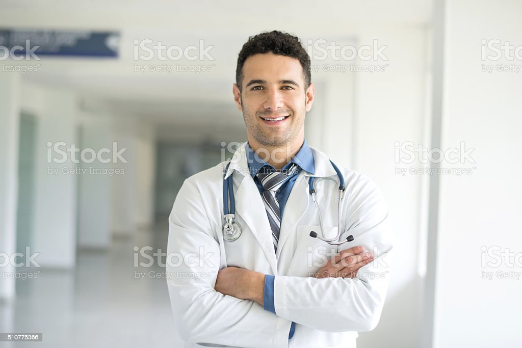 Young doctor at the hospital stock photo