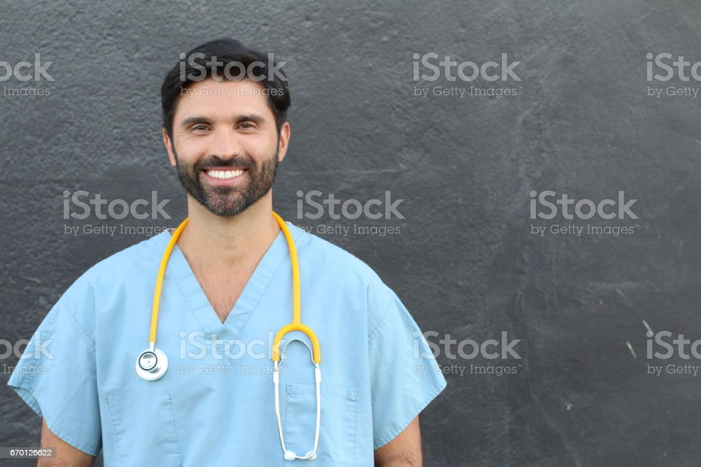 Young doctor at the hospital - Stock image with copy space stock photo