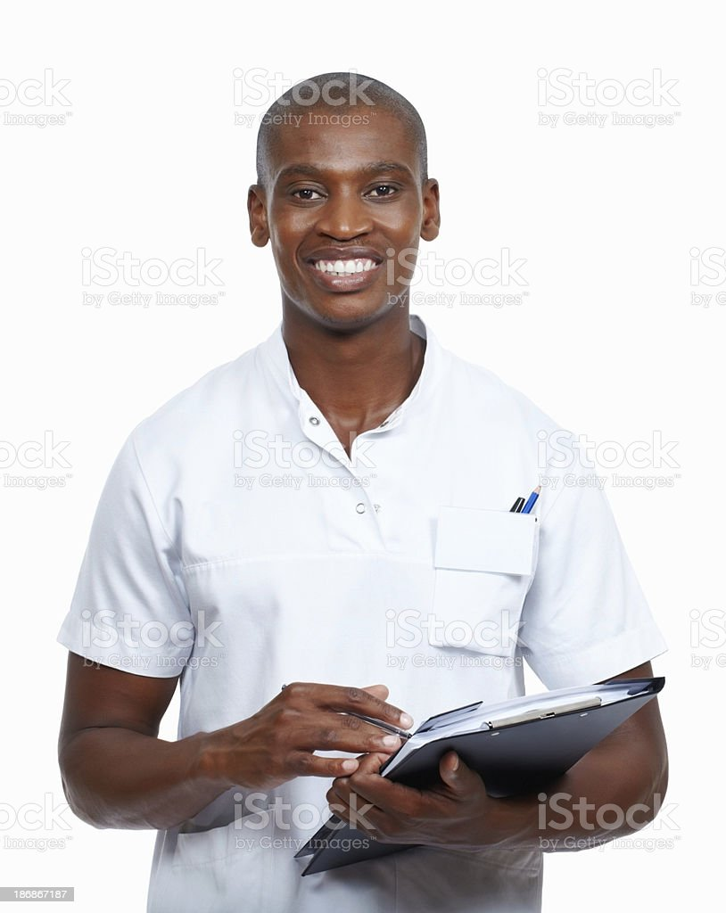 Young doctor holding medical reports royalty-free stock photo