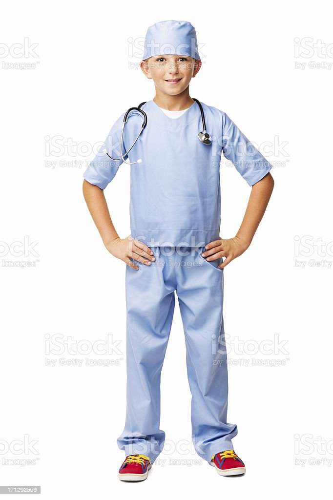 Young Doctor In Scrubs Standing With Hands On Hip-Isolated royalty-free stock photo