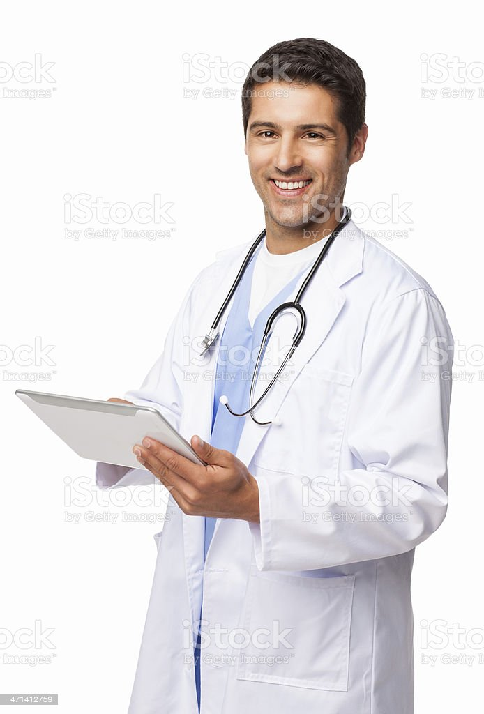 Young Doctor Using Digital Tablet - Isolated royalty-free stock photo