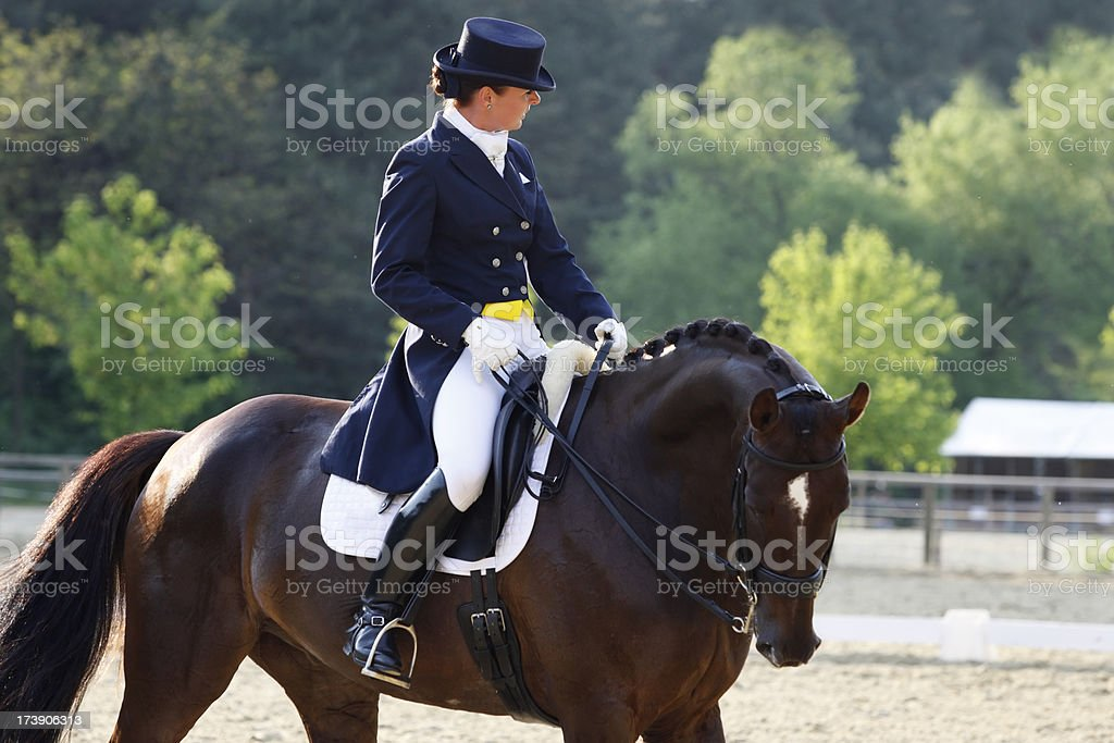Young dressage rider before the competition royalty-free stock photo