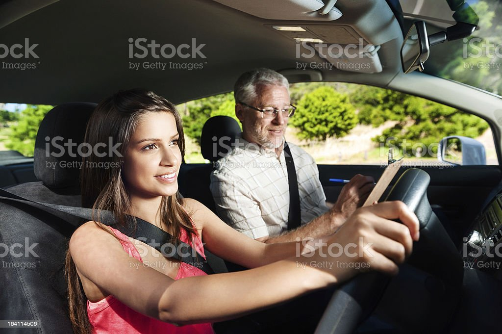 young driving lesson stock photo