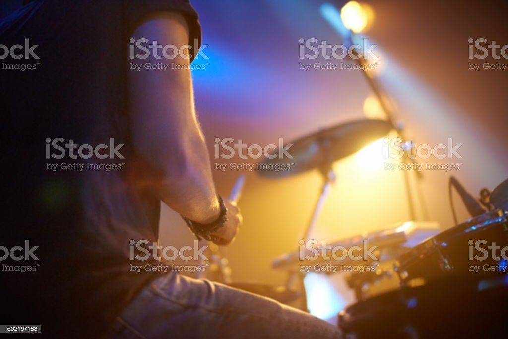 Smacking the skins hard! stock photo