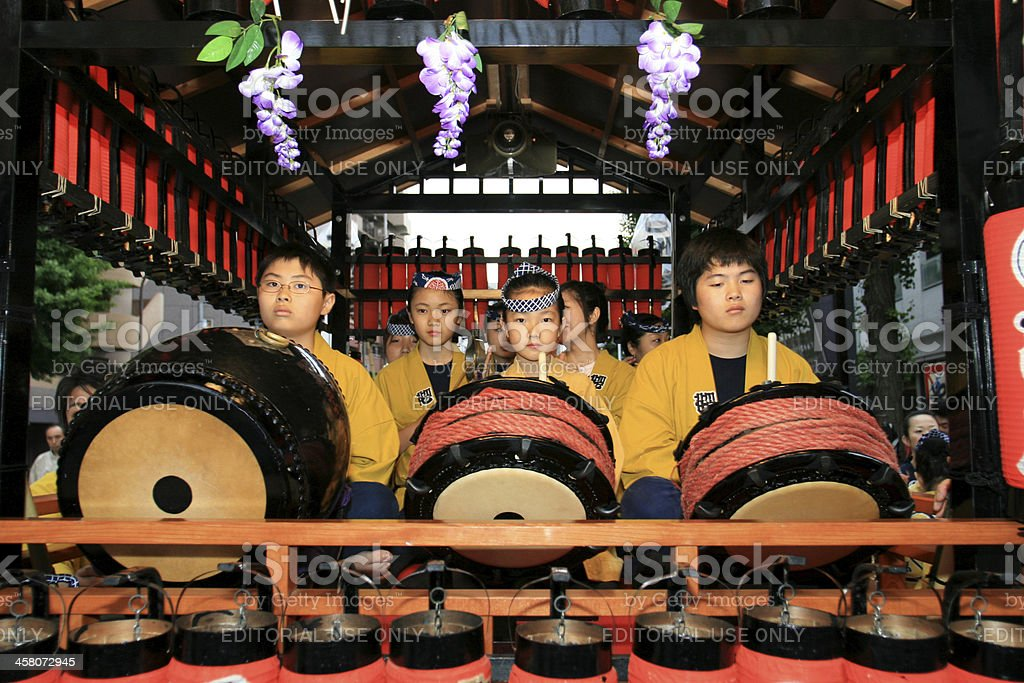 Young drummers at the japanese Sanja festival stock photo