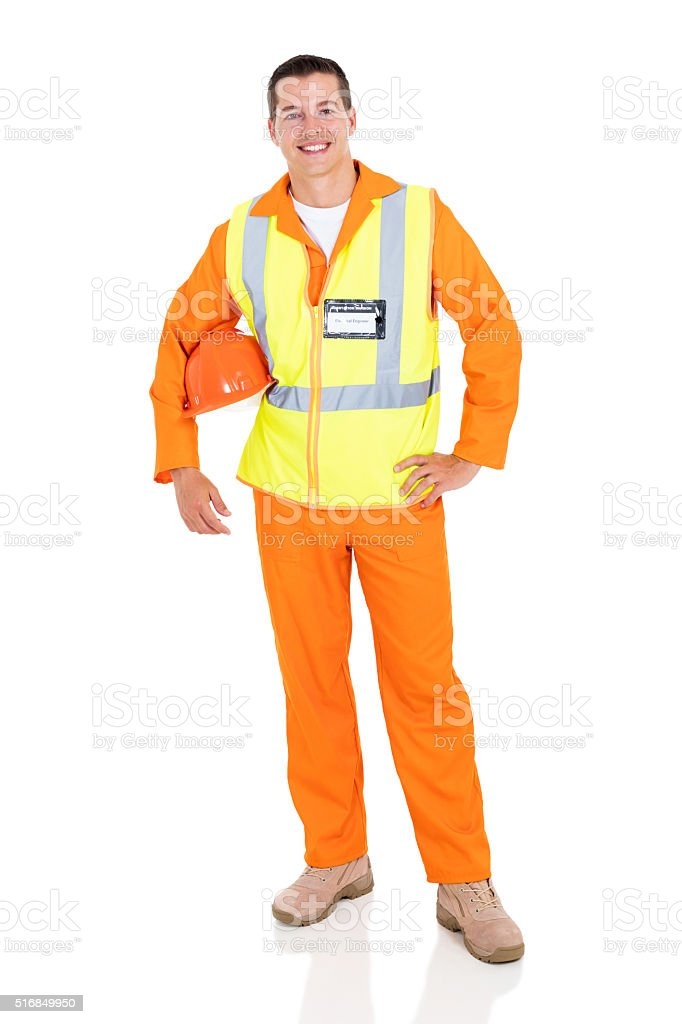 young electrician on white stock photo