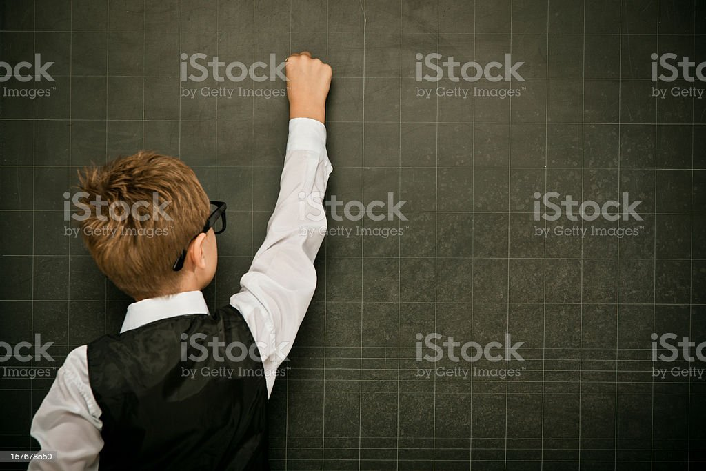 young elegant clever student write on copyspace blackboard royalty-free stock photo