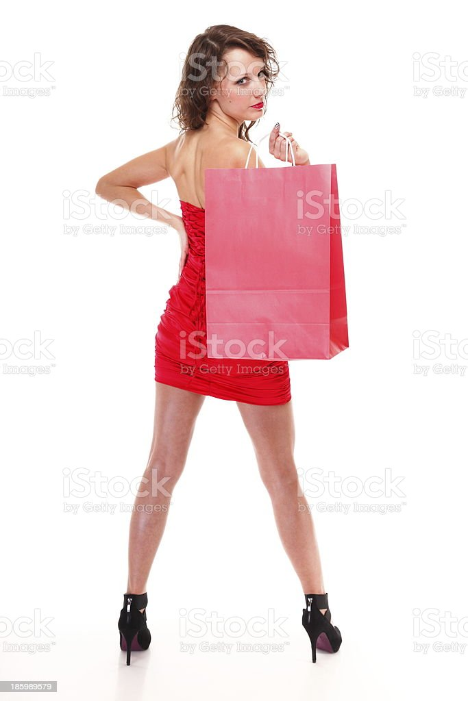 young elegant woman with shopping bag royalty-free stock photo