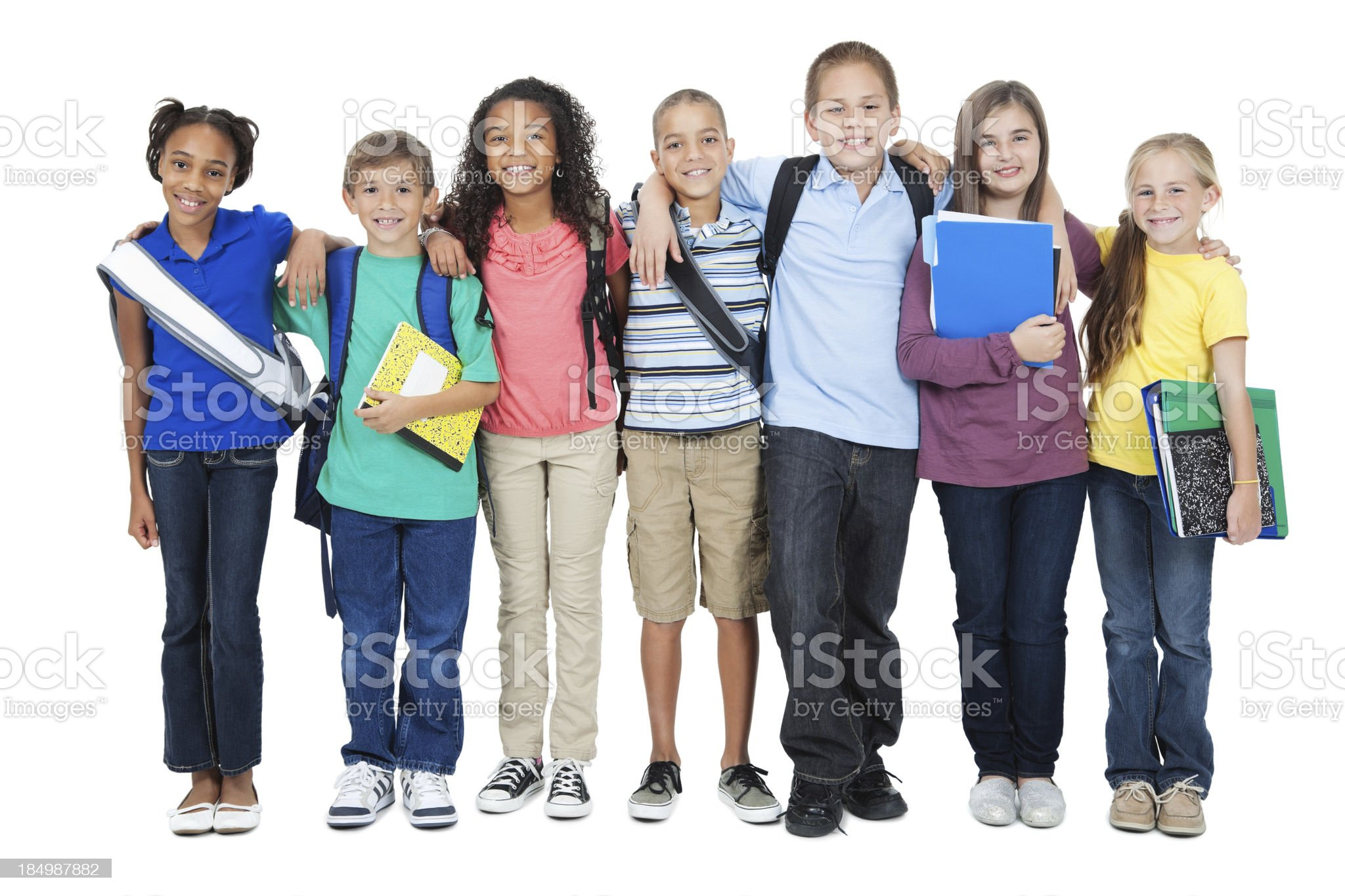 Young elementary friends on white background royalty-free stock photo