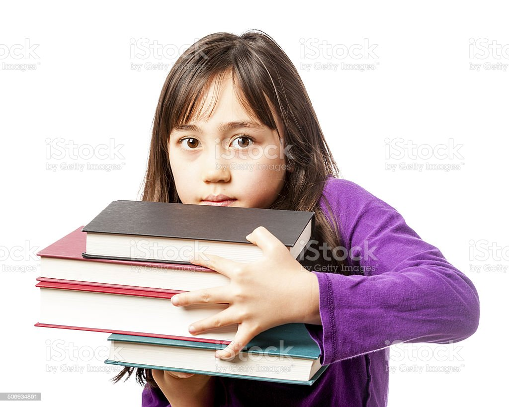 Young Elementary Student with Books stock photo