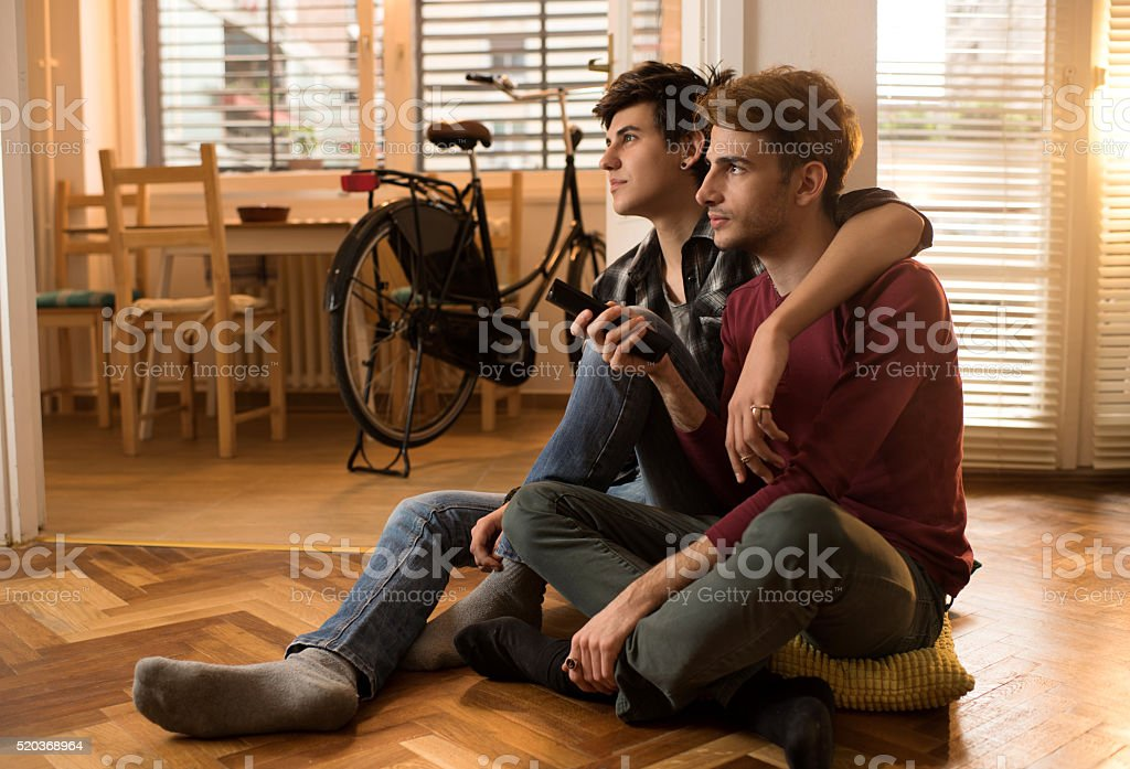 Young embraced homosexual couple relaxing at home and changing channels. stock photo