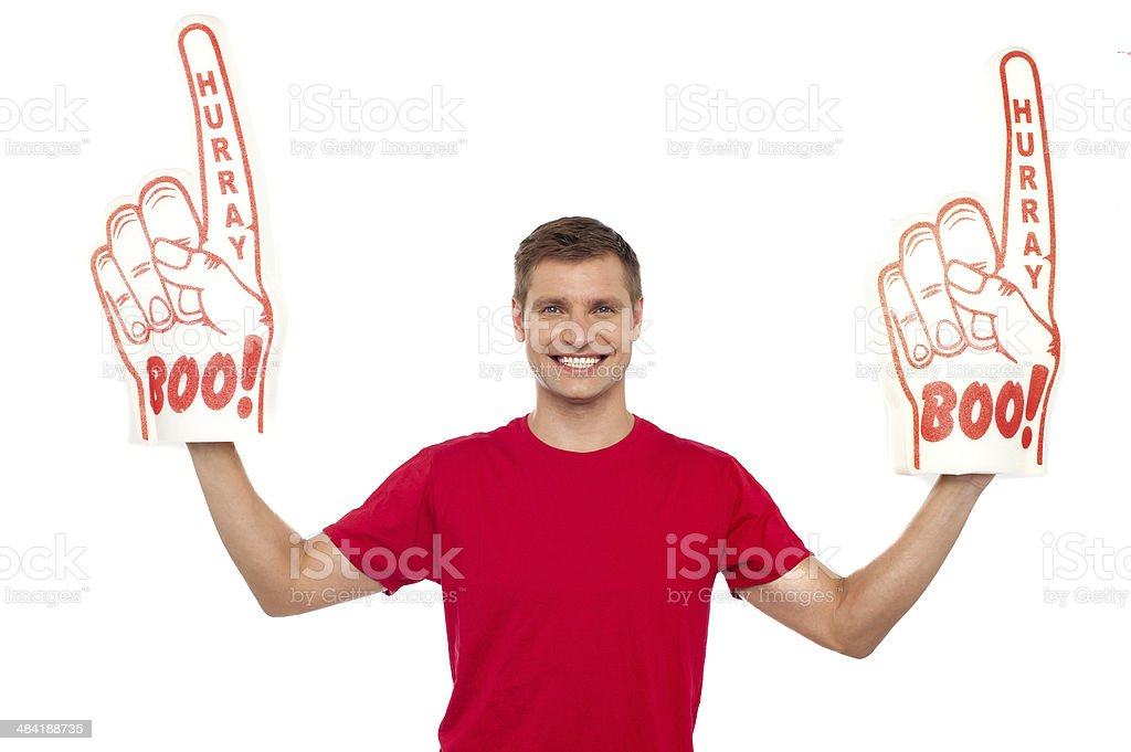 Young energetic fan showing his support royalty-free stock photo