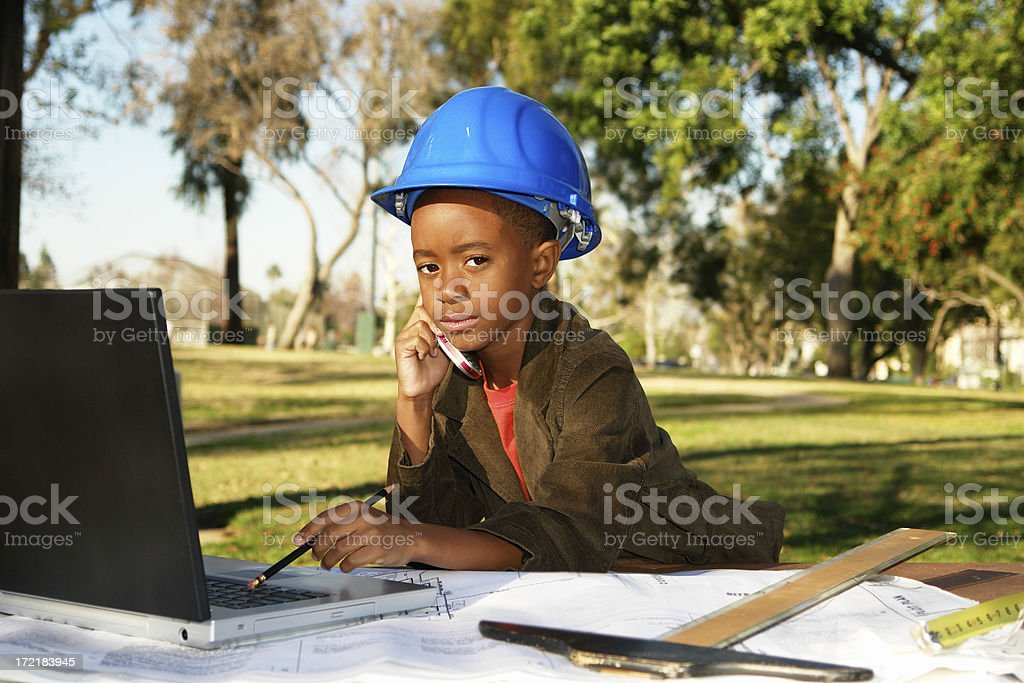 Young Engineer Phoning It In royalty-free stock photo