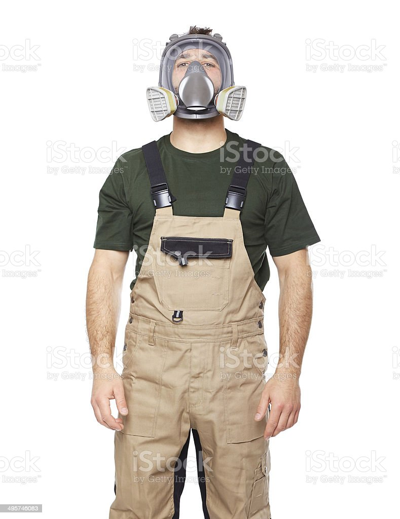 Young engineer with a protective mask on her face stock photo