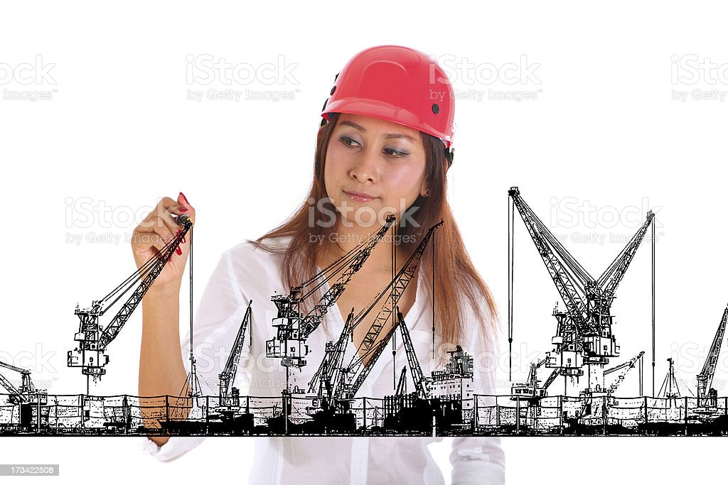 Young engineeringwoman drawing isolated on white background royalty-free stock photo