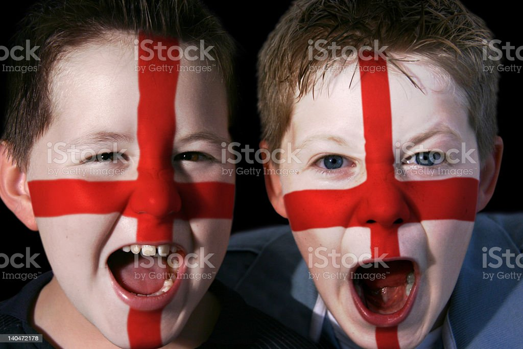 Young England Football Supporters stock photo