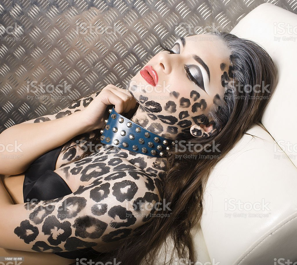 young european model in cat make-up and bodyart royalty-free stock photo