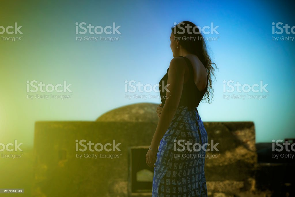 Young european woman enjoying monument in Rajastan. India stock photo