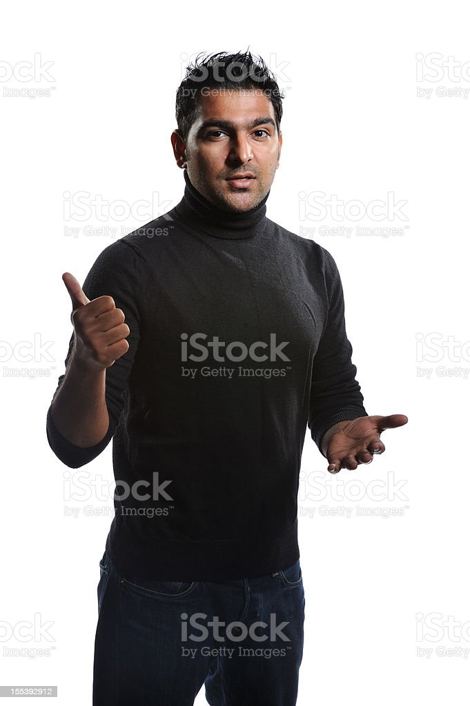 Young executive giving an honest speech stock photo