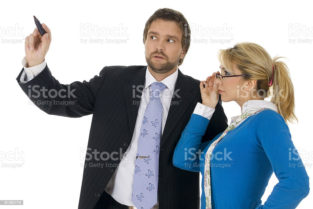 Young executive man with attractive blond royalty-free stock photo