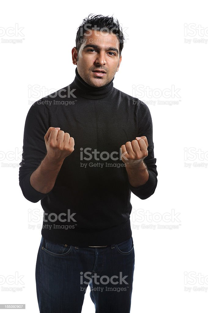 Young executive speaking with conviction stock photo