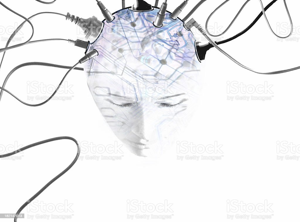 young face with power cables plugged into head with overlaid circuitry stock photo