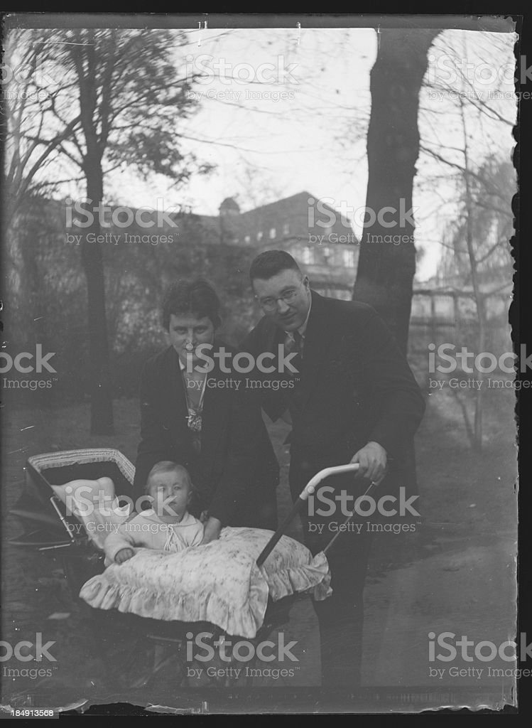 Young family in the 1920s (vintage) stock photo