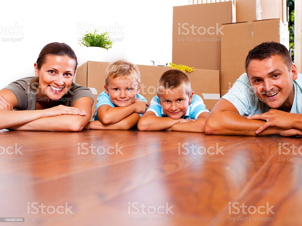 Young family in their new place royalty-free stock photo