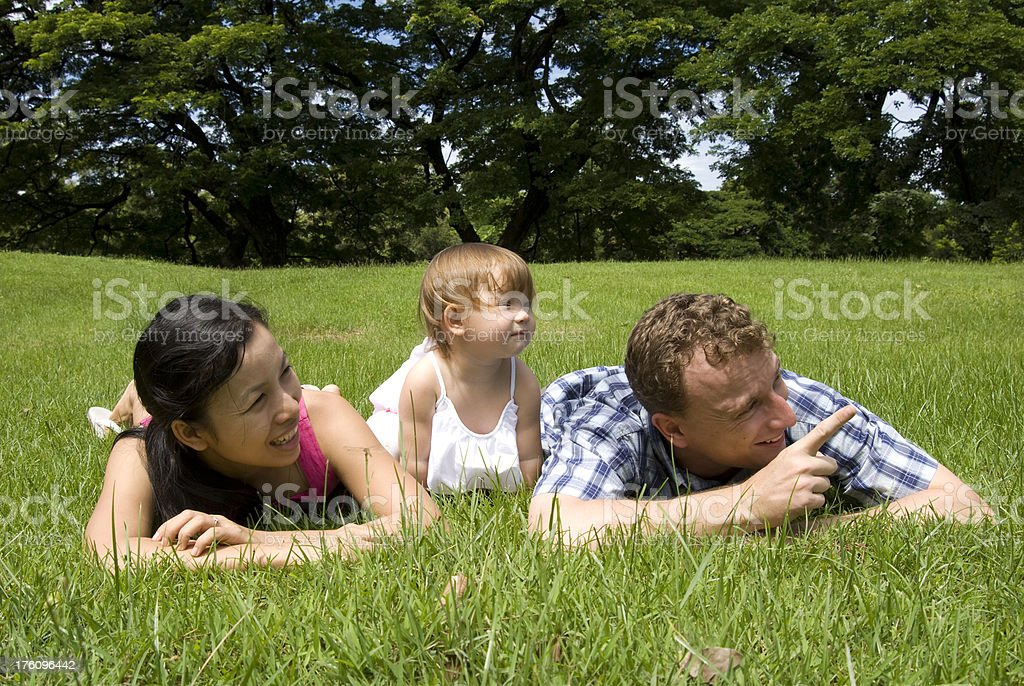 Young family laying in a park royalty-free stock photo