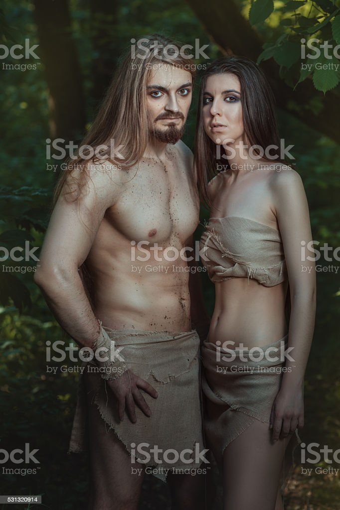 Young family lives in the forest. stock photo